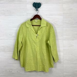 Hot Cotton Linen Blend Chartreuse Knit Top